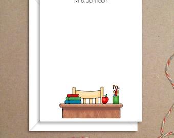 Flat Note Cards - Teacher Desk Flat Notes - Flat Thank You Cards- Illustrated Note Cards - Teacher Note Cards