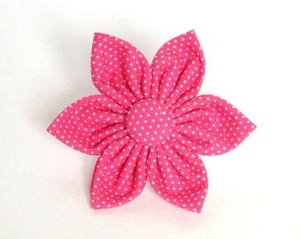 Pink Pin Dot Flower for Dog collar, Cat collar, collar flower, pet collar flower, wedding flower, flowers for dog collars