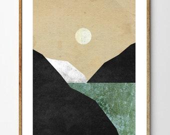 Northern Spring - Nature Print, Mountain Painting, Moon Print, Surreal Print, Arctic, Baby Nursery Art, Nautical