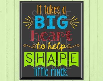 It Takes a Big Heart Classroom Wall Decor | Teacher Appreciation Gift | Gift For Teacher | Classroom Rules Chalkboard | *DIGITAL FILE*
