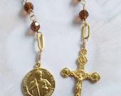 Chaplet to St Jude Thaddeus - 18K Gold Vermeil - Dark Amber Crystal