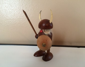 Teak Viking Figurine Denmark Norseman Danish Modern