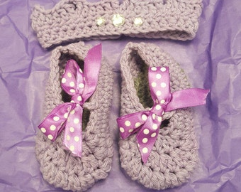 Baby Girl Jeweled Crown and Slippers
