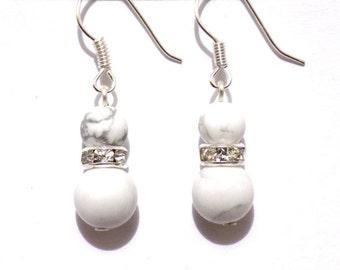 white howlite earrings , howlite earrings , womens earrings , earrings, gemstone earrings, drop earrings