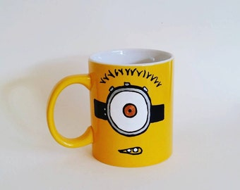 "Hand painted Yellow Ceramic Mug, ""Minion Mug"""