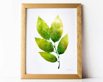 Green Leaves art print, PRINTABLE wall art print, Nature art print, Leaves wall art, Green Home decor, Bathroom wall decor, Green decor