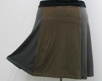 Green Skirt, plus size skirt, upcycled t shirt skirt, 3x 4x skirt, olive t skirt, olive skirt, gray skirt, gray t skirt, eco friendly skirt