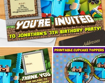 Minecraft™ Printable Birthday Invitation - Printable Minecraft™ Invitation - PERSONALIZED Minecraft™ Party Invite