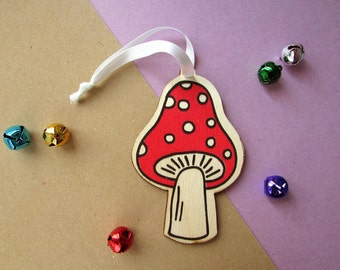 Screen printed Toadstool Wood Laser Cut Christmas Ornament