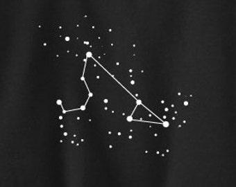 Leo Zodiac Constellations Sweatshirt in Black and Gray - Screen Printed