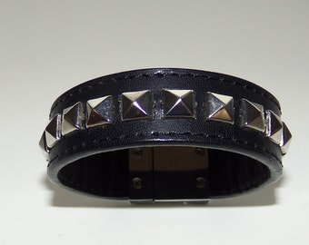 Black Leather Stud Cuff Bracelet