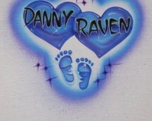Double Color Double Heart And Baby Makes Three Airbrushed T Shirt Design