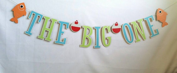 The big one fishing banner 1st birthday banner fishing for Fishing first birthday
