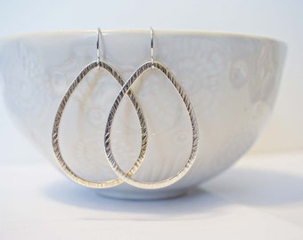 Silver Textured Teardrop Earrings