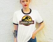 Vintage Style Jurassic Park Ringer T-Shirt