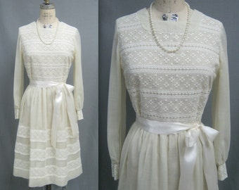 Vintage 60s 70s  LACE Trimmed Party DRESS Bohemian MOD Summer Wedding Festival Bust 37""