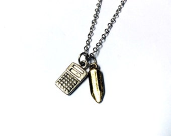 Number Cruncher Necklace: calculator and pencil charms