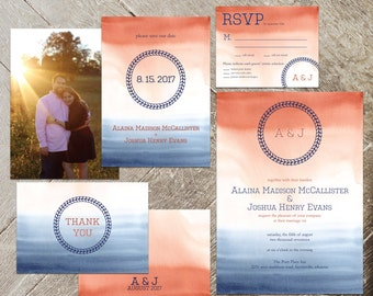 Military Wedding Invitation Set, Minimalist Engagement Stationery, Invite, RSVP, Save the Date, Thank You Card