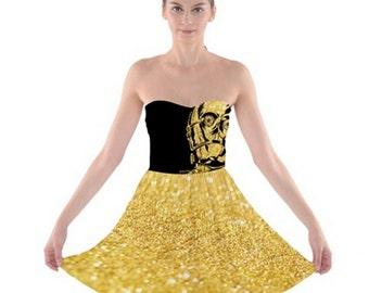 Star Wars Dress, C3PO Dress, C3PO Strapless A-Line Dress