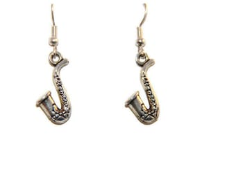 Saxophone earrings, musician earrings, Jazz earrings