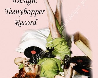 Shop Icon, instant download, blank file, Teenybopper Record, 1950s, girl on phone plays records, green pink, red head