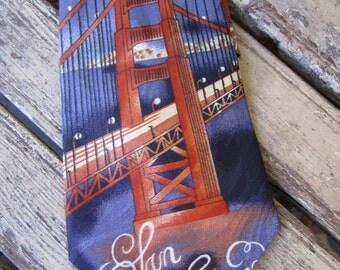 Vintage Mens Tie  - San Francisco - Golden Gate Bridge - Souvenir
