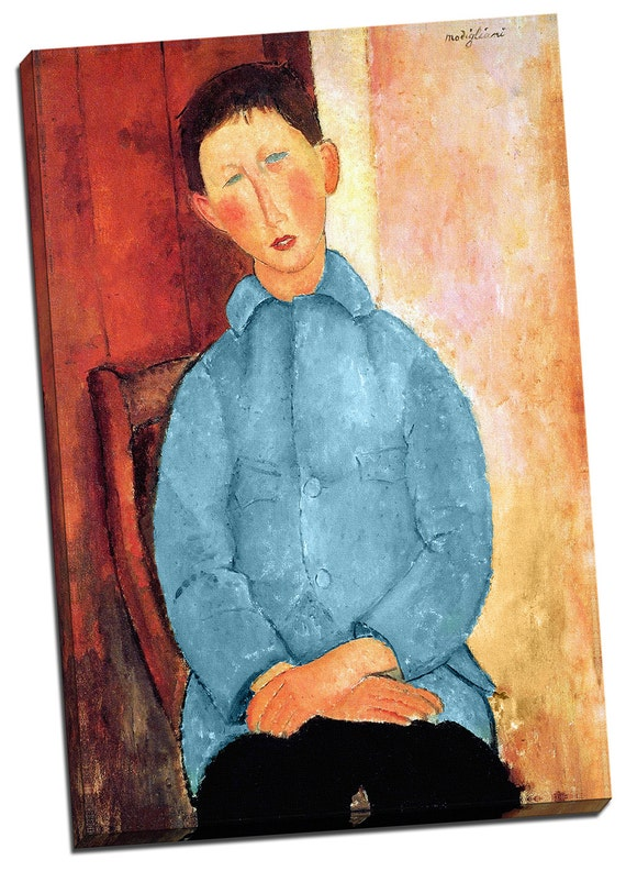 Boy in the Blue Jacket | Amedeo Modigliani Mirror Wrapped Canvas