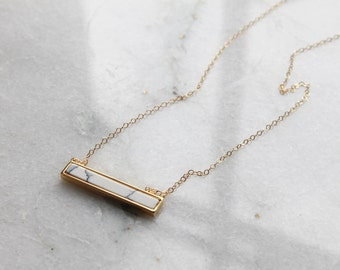 Bar Necklace, Marble Necklace, Sarala Marble Bar Necklace - Gold