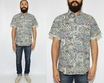 VIntage Abstract Floral Short Sleeve Button Up Shirt  Floral Button Up Shirt Abstract Splatter Print Shirt - Large