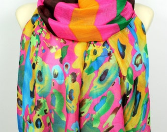 Floral Fashion Scarf Pink Fabric Scarf Unique Boho Scarf Pink Printed Scarf Women Fashion Accessories Spring Gift for Women Christmas Gift