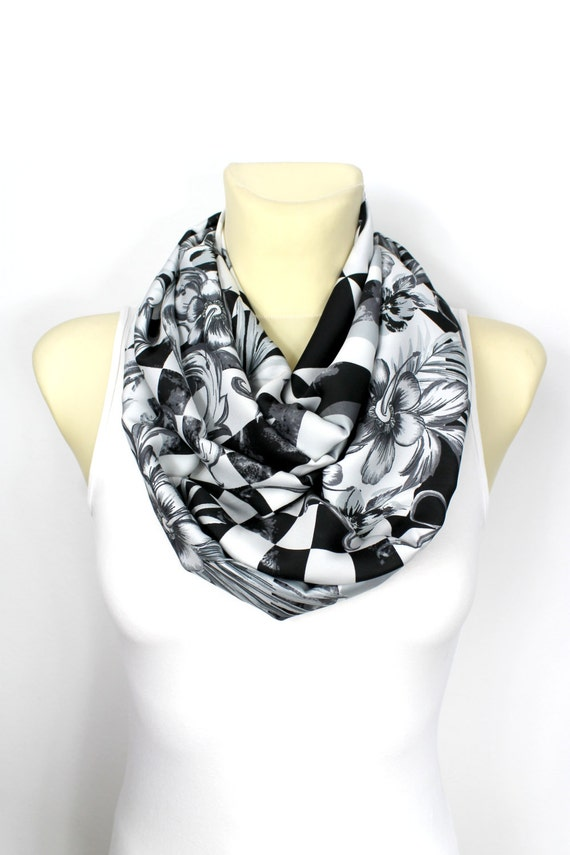 Infinity Scarf Womens Gift for Her White Infinity Scarf Boho Scarves Floral Scarves Womens Spring Accessories Gift for mom wife grandma