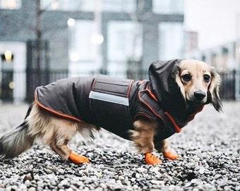 Dachshund Dog Raincoat with hood and neck warmer - Brown Custom Dog Jacket - Waterproof Clothes - Dog Rain Coat - Custom-fit for your dog