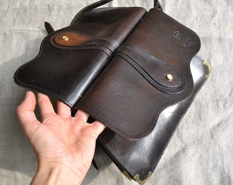 Leather bag, vintage leather bag, old leather bag, brown leather bag, satchel bag, old leather purse, leather purse, vintage leather purse