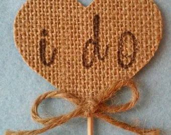 I Do Rustic Wedding, Barn Wedding Burlap Toothpicks set of 12