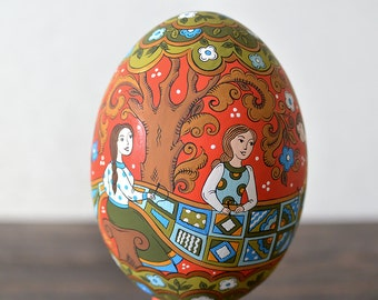 Hand painted easter egg wooden egg decorated russian - Painted wooden easter eggs ...