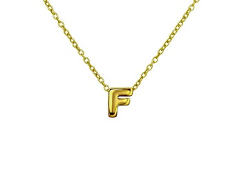 """Gold F Pendant Necklace, Vermeil Gold Initial """"F"""" Letter Charm Necklace, Personalized Gift Ideas"""