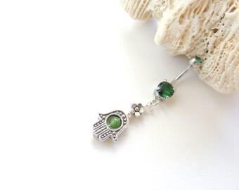 emerald navel ring etsy