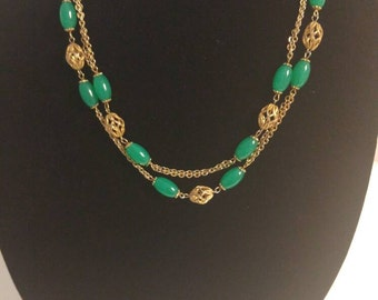 Vintage Double Strand a Green and Gold Beaded Necklace