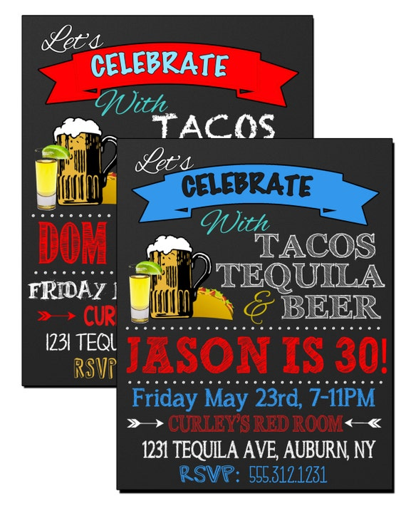 Tacos tequila beer birthday party invite tequila party like this item stopboris Images