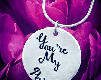 You're My Person Hand Stamped Necklace. You're My Person Necklace, You're My Person Jewellery, Friends Necklace, Girlfriend Gift, Wife Gift