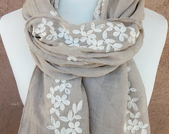 Beige Embroidery Flower Scarf / Beige Floral Shawl / Spring Scarf.