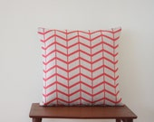 "20"" x 20"" Decorative Pillow Cover, Herringbone Cushion Cover, Geometric Pillow, Coral Cushion, Throw Pillow, 249"