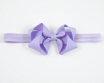 Lavender Bow Headband, Purple Newborn Headband, Lavender Headband, Purple Baby Headband, Light Purple Elastic Headband (Item #10401)