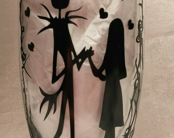 Nightmare Before Christmas Jack and Sally Champagne Wedding Glasses (161951593487)