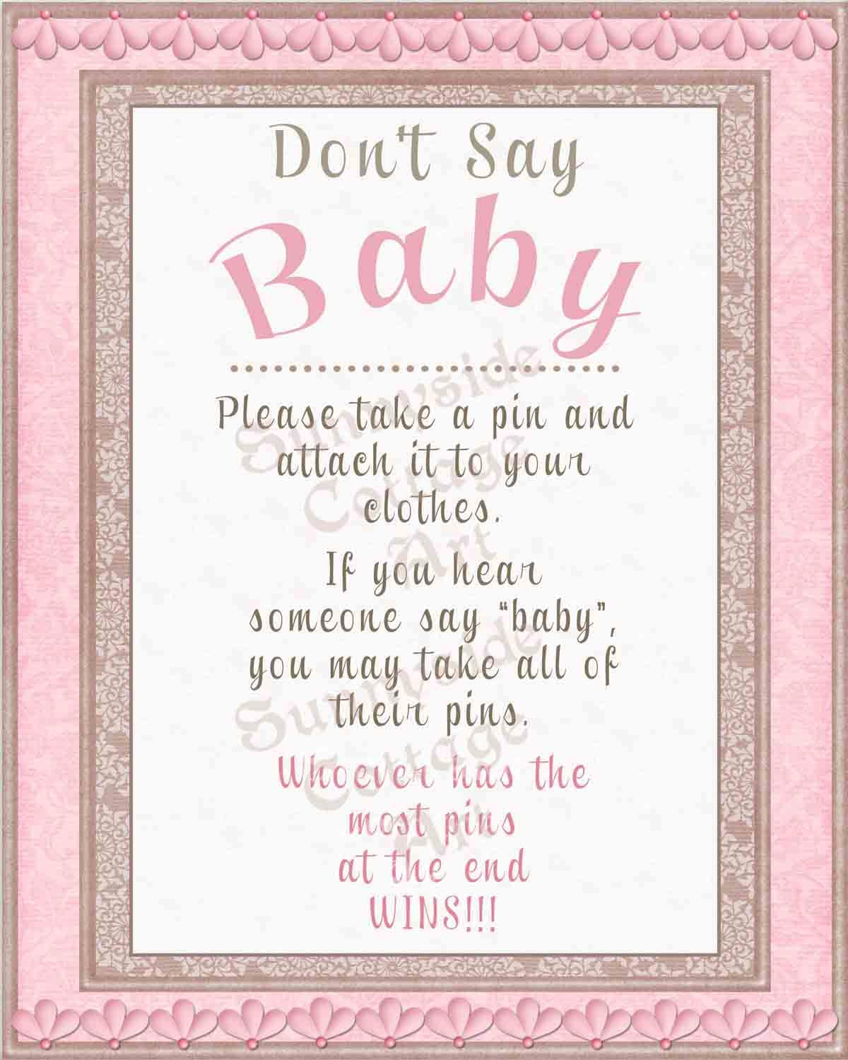 Declarative image regarding free don't say baby printable