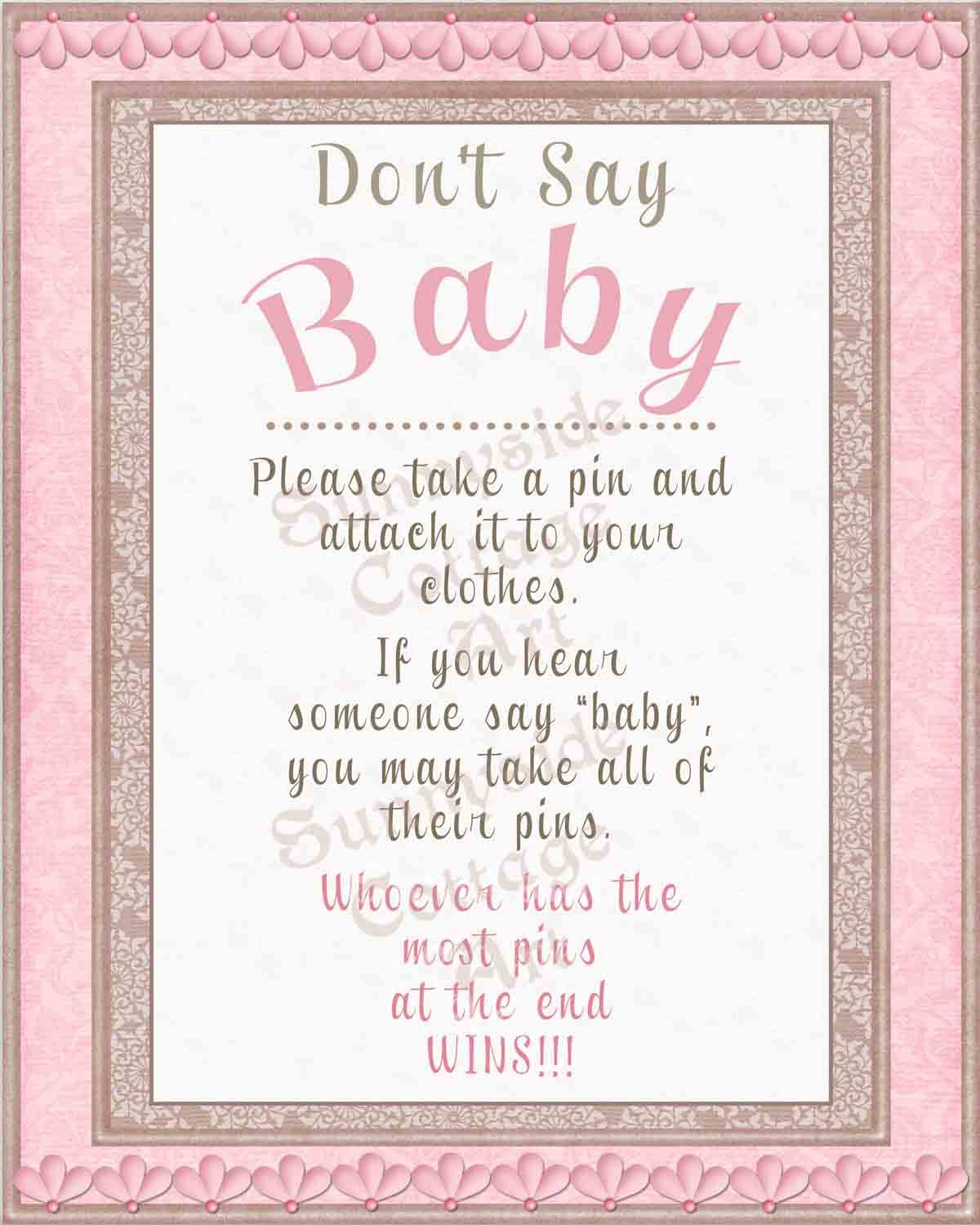 This is a graphic of Insane Don't Say Baby Printable
