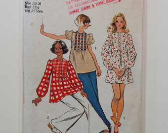 """Vintage 1970s Simplicity 5629 Tunic or Mini-Dress Pattern / Size 13/14 / Bust 33 1/2"""" / Juniors / Teens"""