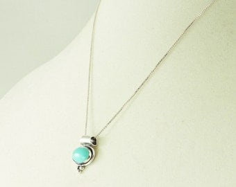 """Sterling Silver And Turquoise Pendant Necklace 18"""""""