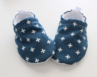 cobalt blue crosses baby shoes, Soft Sole, Fabric Baby Booties - great gift idea!