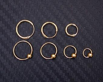 cartilage earring gold tragus earring, helix earring, cartilage hoop, tragus hoop, helix hoop, nose ring gold 20g, helix piercing